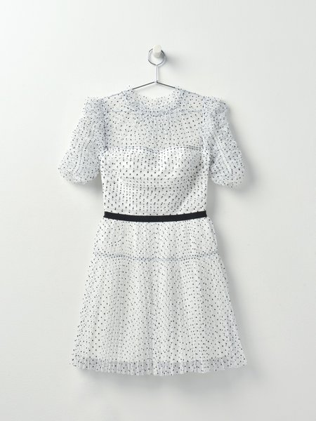 self portraitSelf Portrait Dot Mesh Pleated Skirt Mini Dress