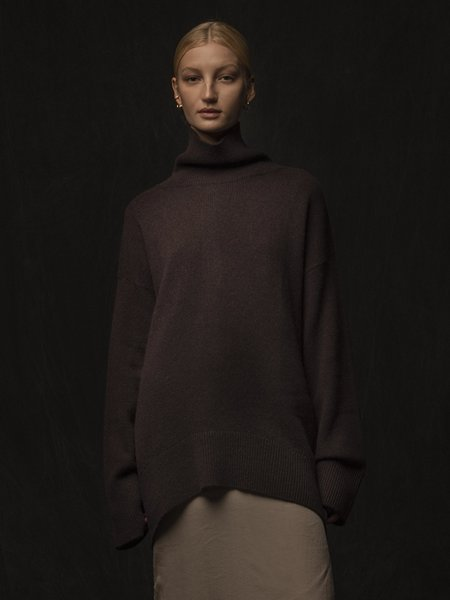 PURECASHMERE NYC High Neck Oversized Sweater - Castle Brown