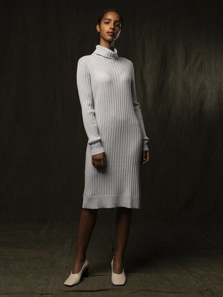 PURECASHMERE NYC Rib Turtleneck Dress - Baby Blue