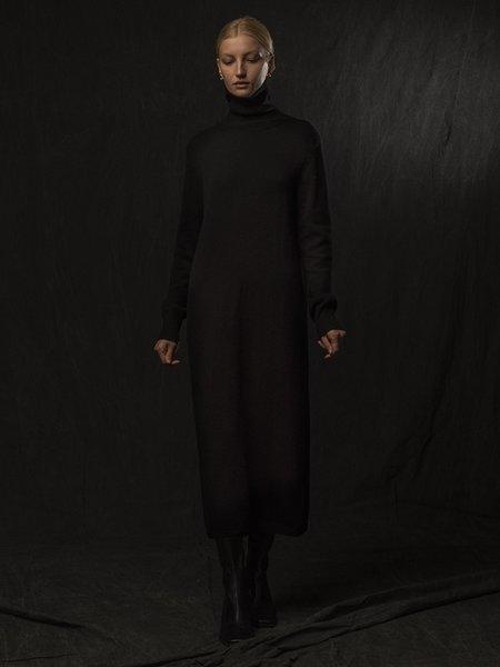 PURECASHMERE NYC Turtleneck Maxi Dress - Black
