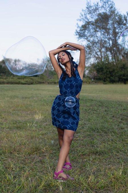 Abacaxi Cutout Mini Dress - indigo