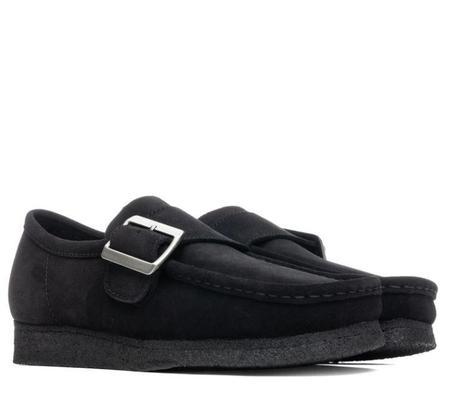 Clarks Wallabee Monk Shoe - Black Suede