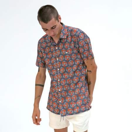 Far Afield Patchwork Floral Selleck Short Sleeve Shirt - Blue