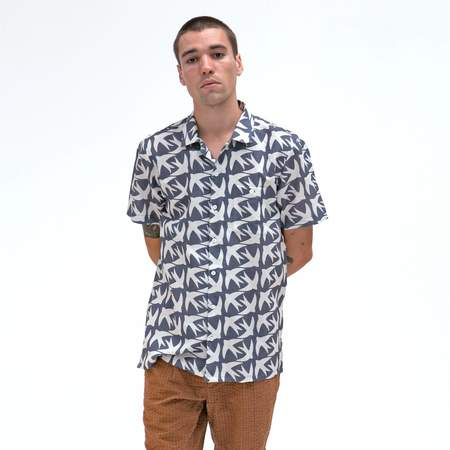 Far Afield Swallow Selleck Short Sleeve Shirt - Blue
