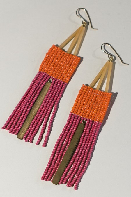 Lu in the Frey Fringe Earrings with Brass - Orange/Pink