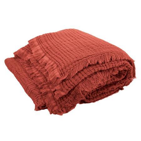 Kids Moumout Autumn Paris Plaid Loulou Throw Blanket - Brick Red