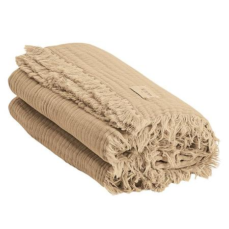 Kids Moumout Autumn Paris Plaid Loulou Throw Blanket - Sand Beige