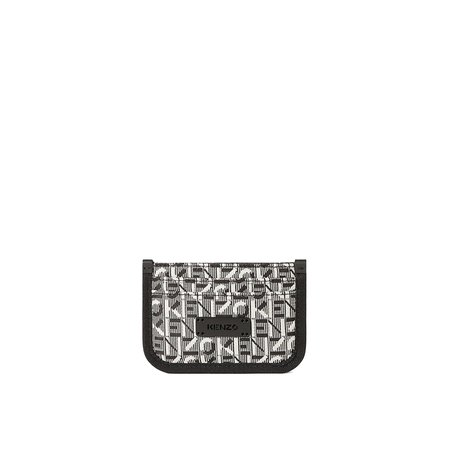 Kenzo Monogram Pipped Leather Card Holder - Grey