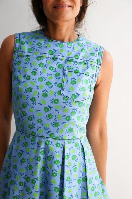 [Pre-loved]  Prada Floral Print Fit & Flare Midi Dress