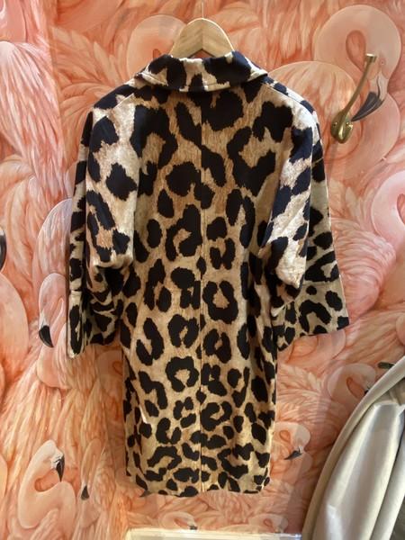 GANNI Linen Canvas Jacket - Maxi Leopard