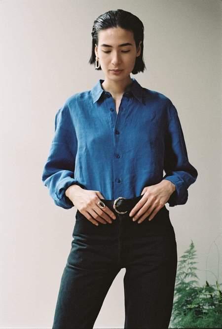 Unisex Modern Society Linen Shirt - Indigo