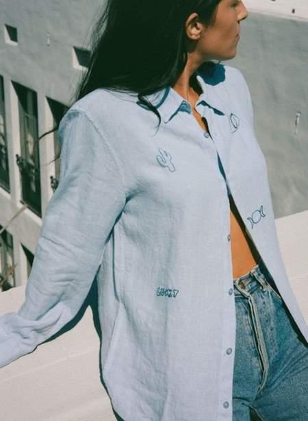 Unisex Modern Society Lucky Linen Shirt - Sky