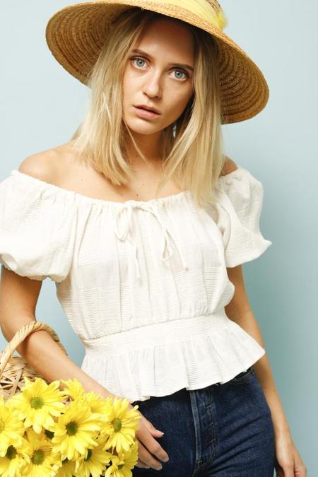 Lush MARGOT WHITE COTTON CROP TOP - White