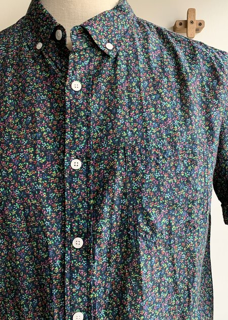 Oxford Lads Cotton & Silk S/S Button Down top - multi