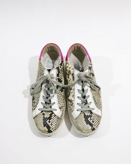 [Pre-loved] Golden Goose Superstar Snakeskin Low Top Sneakers - Grey/Cream
