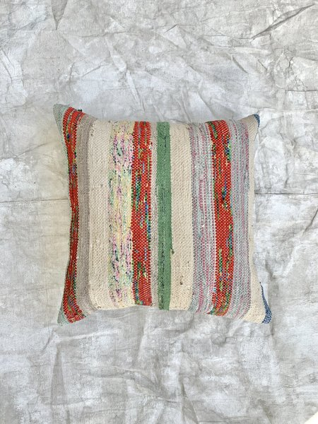 Cuttalossa & Co. Multi Cotton Rag Weave Large Throw Pillow