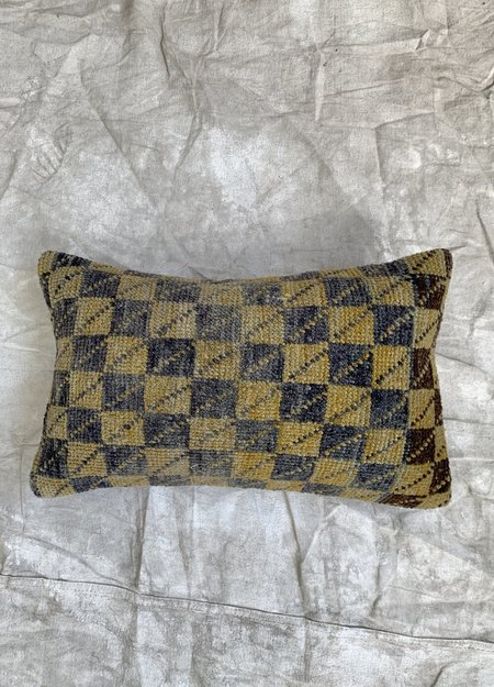 Cuttalossa & Co. Checkered Handed Knotted Lumbar Pillow