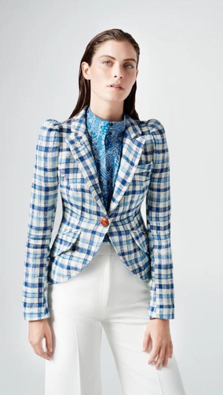 Smythe Pouf Sleeve One Button Blazer - Blue Sackcloth Check