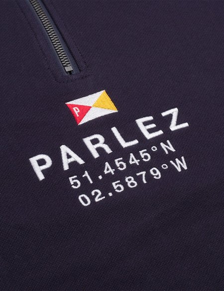 Parlez Prospect Quarter Zip Sweatshirt - Navy Blue