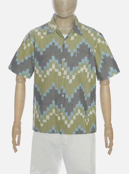 Universal Works Road Shirt in Handloom Ikat - Green Zigzag