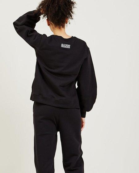 Ganni Isoli Puff Sleeve Sweatshirt - Black