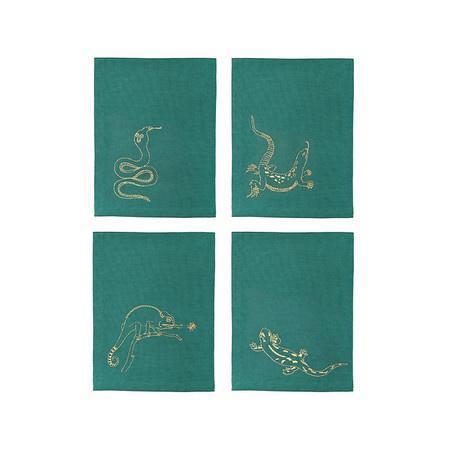 &Klevering Reptile Napkins - Emerald