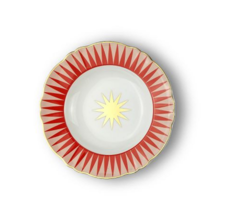 Bitossi Lightning Deep Dinner Plate - pale pink/red pairing