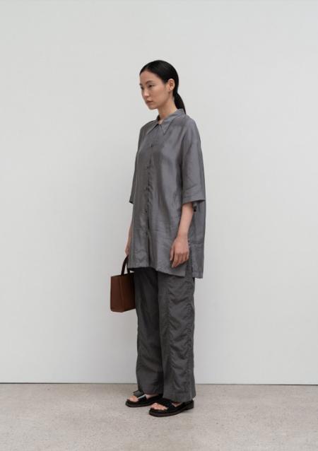 AMOMENTO Half Silky Shirt - Grey