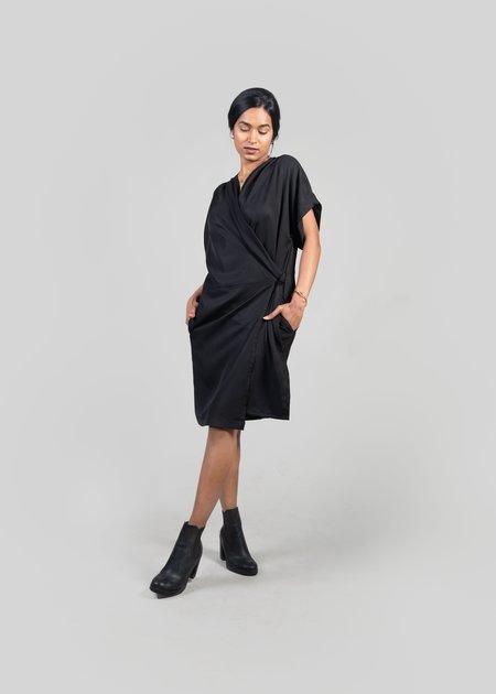 m e ç l â Agnes Wrap Dress - Black