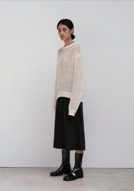 AMOMENTO Organic Crochet Pullover - Ivory
