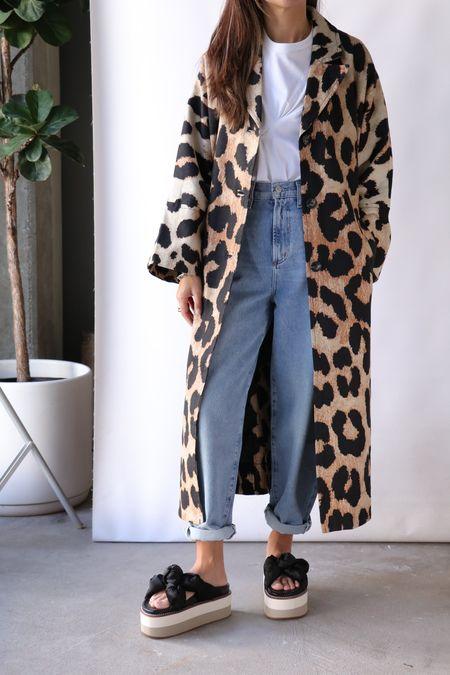 Ganni Canvas Coat - Maxi Leopard