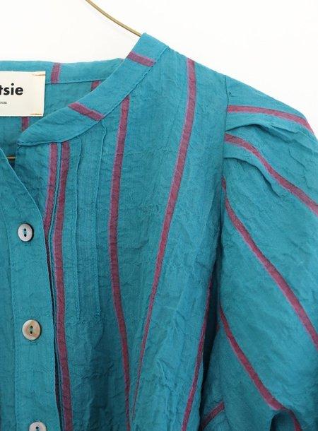 Pietsie Atlin Shadow Stripe Blouse - Turquoise/Pink Stripe