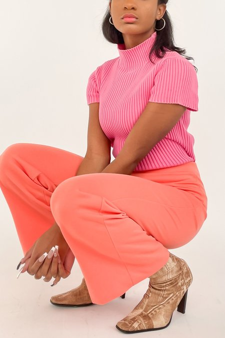 vintage High Rise Knit Pants - melon