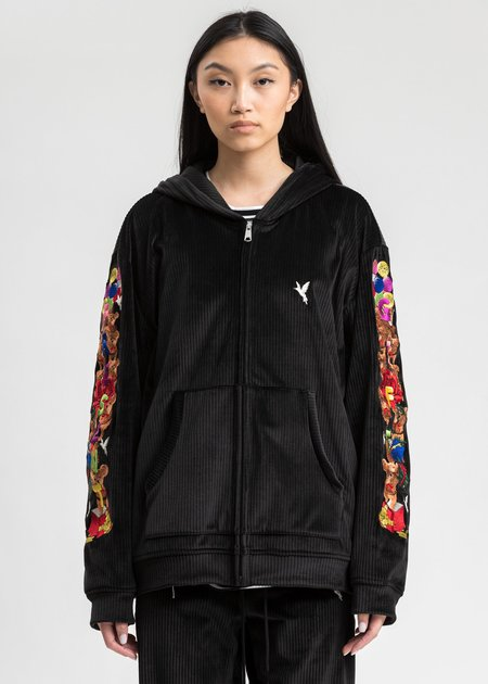 Doublet Chaos Embroidery Comfy Zip-Up Hoodie - Black