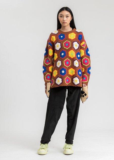 Doublet Hand Crochet Bear Pullover - Brown