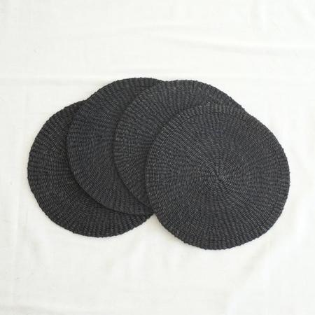 INNÉ Studios Set of 4 Abaca Round Placemat - Black