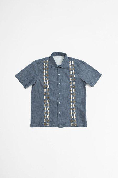 Universal Works Open Collar Shirt - Chambray Indigo