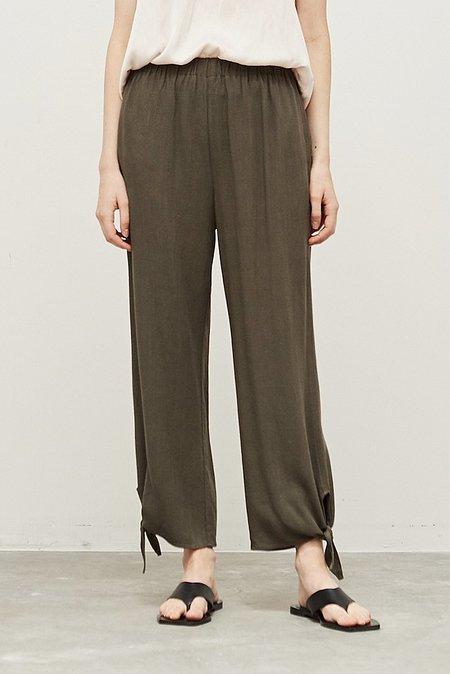 Grade & Gather Linen Blend Tie Pant - Char Green