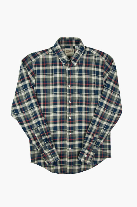 Naked & Famous Regular Shirt Herringbone Soft Check Grey/Red