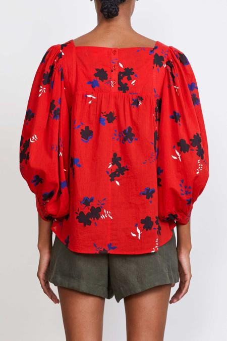 Apiece Apart Zinnia Top - Red Aster Floral