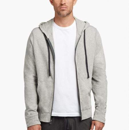 James Perse Men's Vintage Fleece Hoodie in Heather Grey