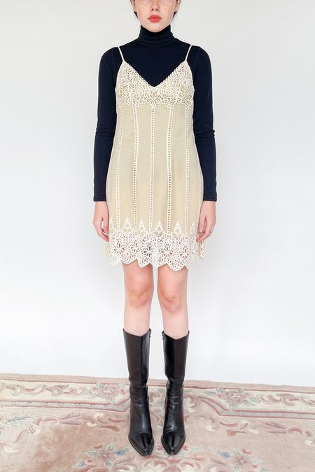 Vintage La Perla Soutache Mesh Dress - Nude