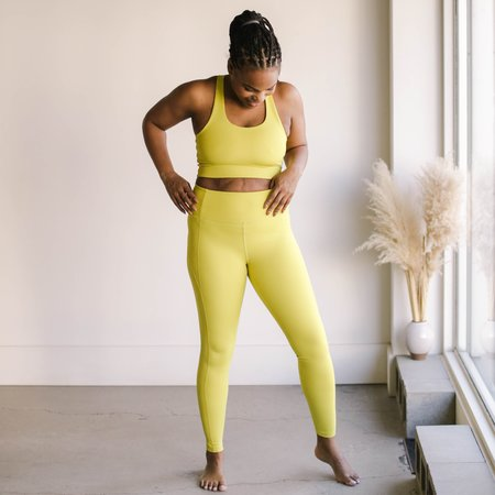 Girlfriend Collective High Rise Compressive Leggings - Chartreuse