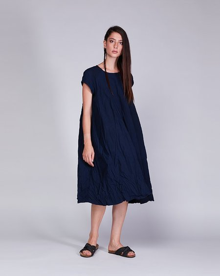 Baci Crinkle Cotton Cap Sleeve Dress - Navy
