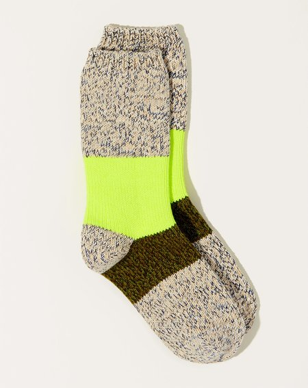 Kapital 56 Yarns Neon Line Gogh Socks - White/Khaki