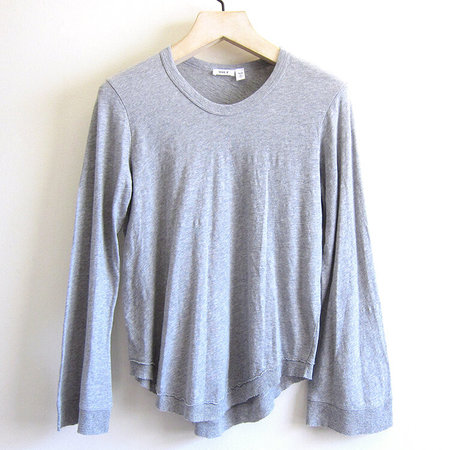 Wilt shrunken shirttail bell sleeve top - grey heather