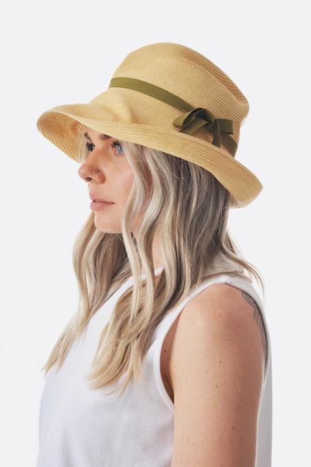Mature Ha Large Brim Boxed Hat - Natural/Olive