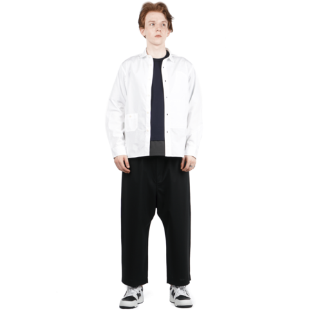 Comme des Garçons TAPERED CROPPED COTTON TROUSERS - BLACK