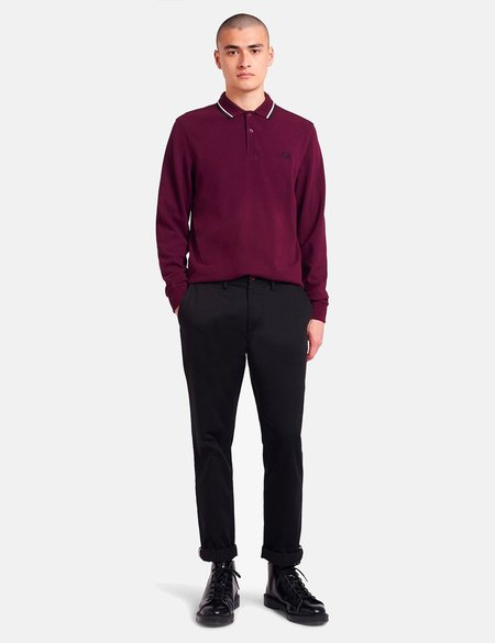 Fred Perry Twin Tipped Long Sleeve Polo Shirt - Mahogany
