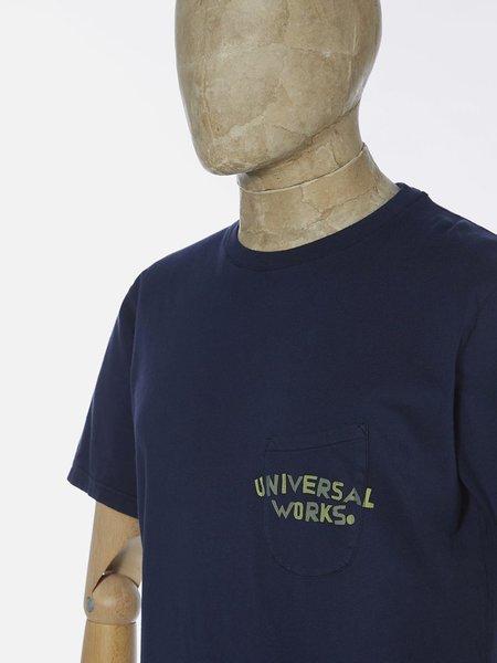 Universal Works Print Pocket T-Shirt - Navy